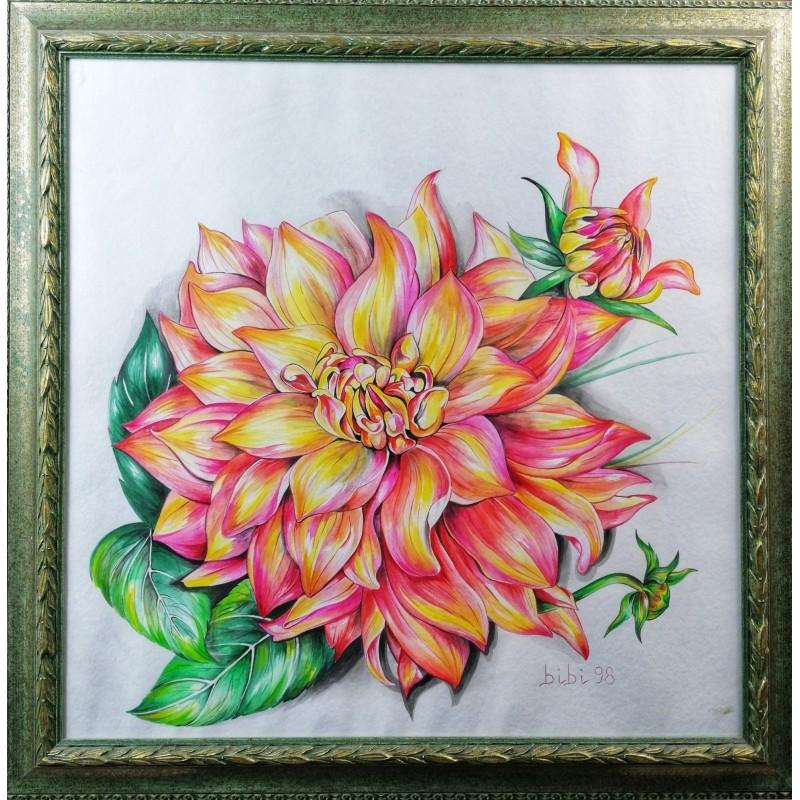 Dahlia Pinnata watercolor cm 70*70