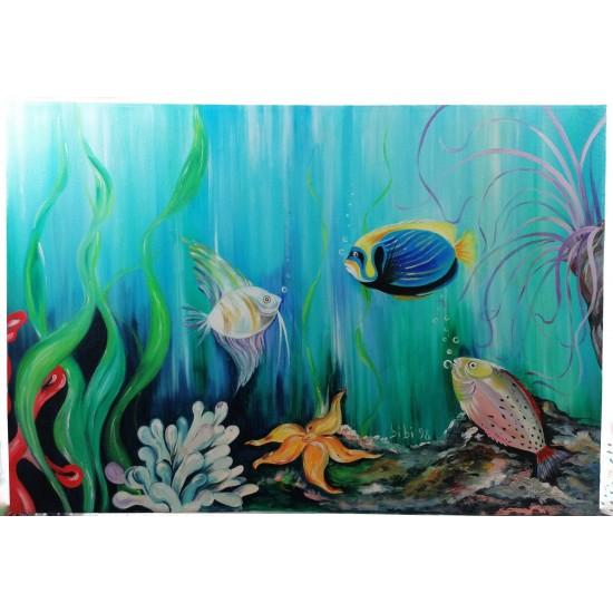 Marine flora  oil on canvas cm 100*65