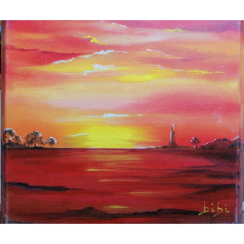 sunset oil on canvas cm 30*30